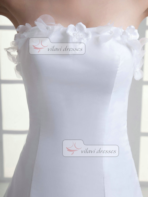 A-line Tube Top Court Train Organza Flower Wedding Dresses With Beading