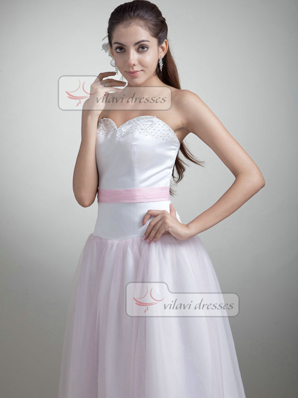 A-line Strapless Ankle-length Organza Beading Wedding Dresses