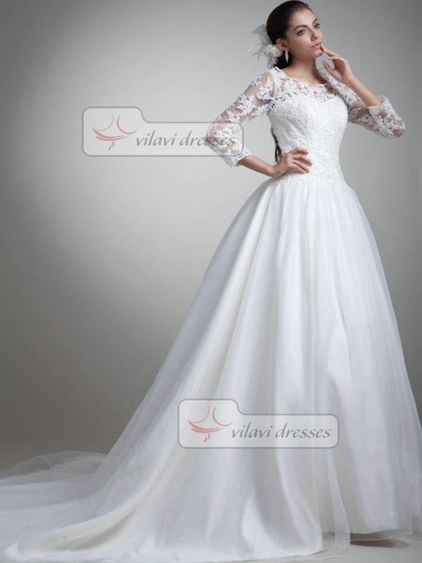 A-line Scalloped-edge Brush Train Organza 3/4 Length Sleeve Lace Wedding Dresses With Beading