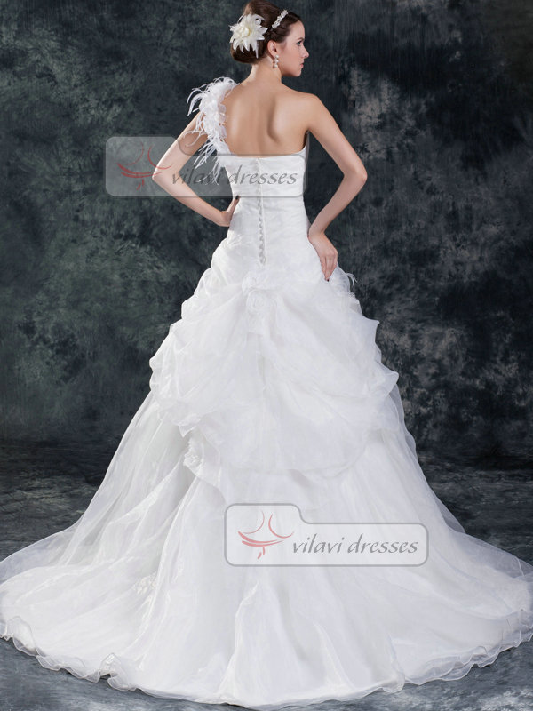 Princess One Shoulder Brush Train Organza Pick-Ups Wedding Dresses