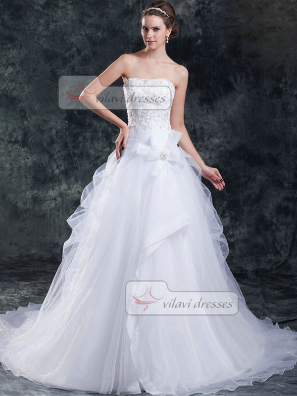 A-line Straps Brush Train Organza Beading Sequin Wedding Dresses