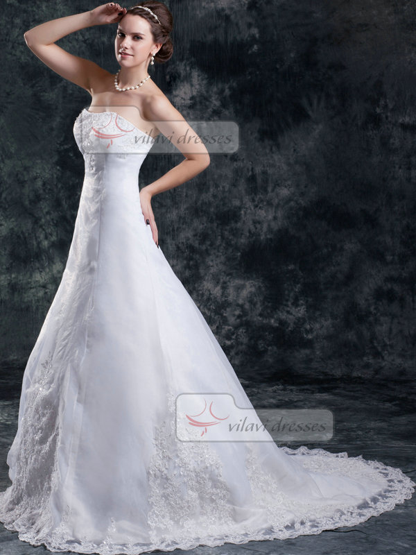 Ball Gown Strapless Brush Train Organza Beading Sequin Wedding Dresses