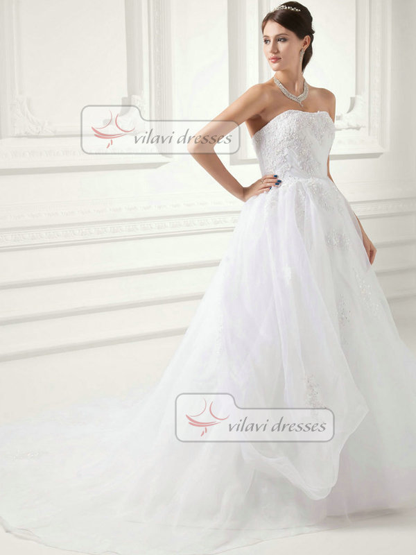 A-line Sweetheart Sweep Organza Sequin Beading Wedding Dresses