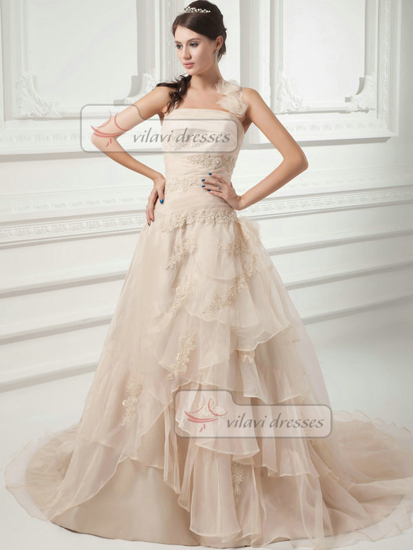 Over Hip Halter Court Train Organza Flower Beading Wedding Dresses