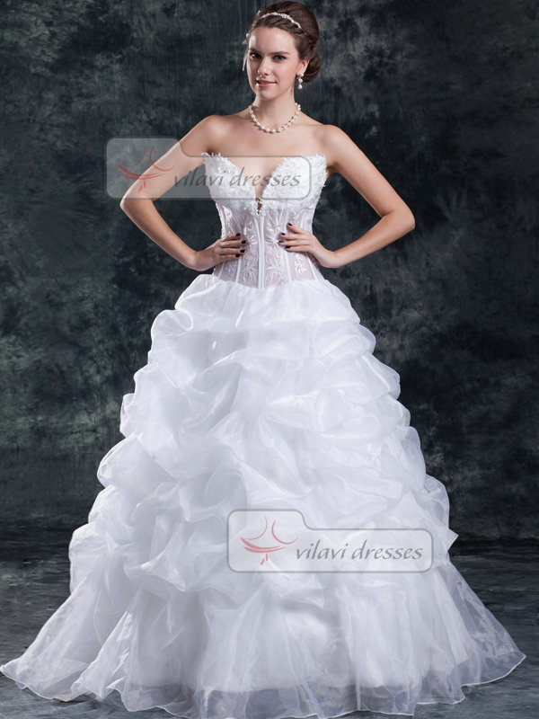 Ball Gown Sweetheart Floor-length Organza Pick-Ups Wedding Dresses