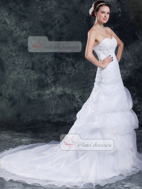 Mermaid Sweetheart Court Train Organza Pick-Ups Wedding Dresses