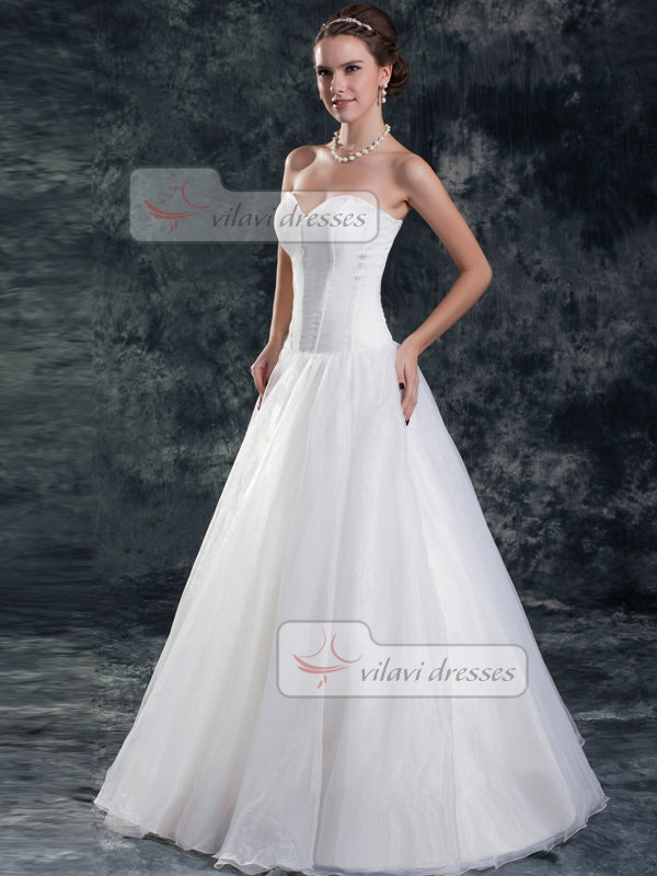 A-line Sweetheart Strapless Floor-length Organza Wedding Dresses