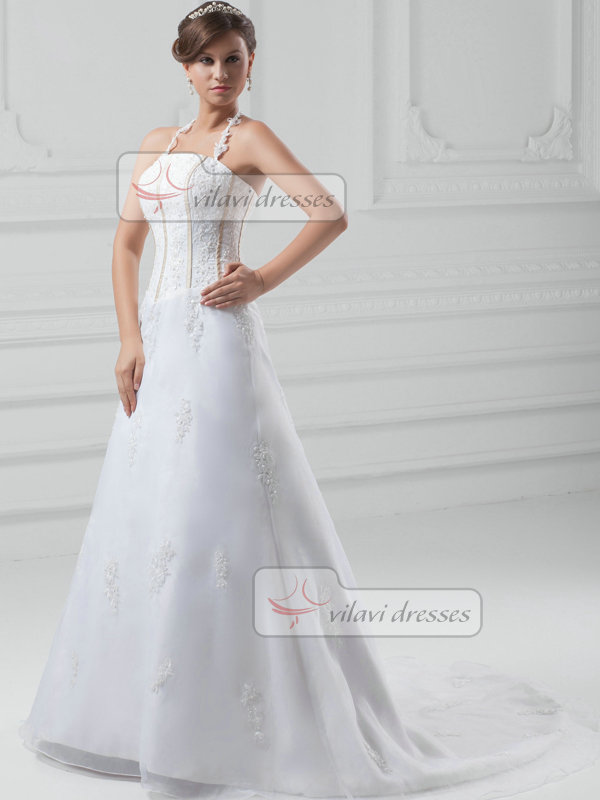 A-line Halter Brush Train Organza Beading Wedding Dresses