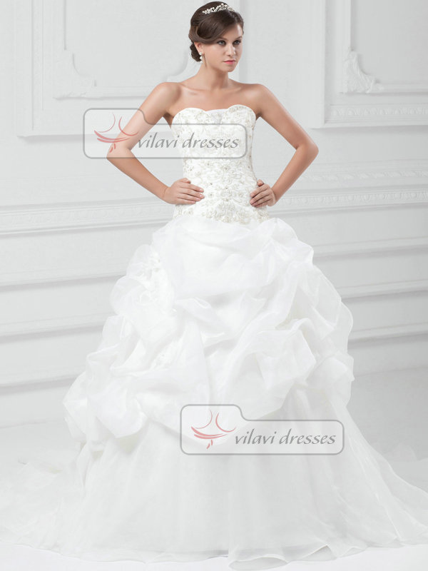 Princess Sweetheart Sweep Organza Embroidery Pick-Ups Wedding Dresses