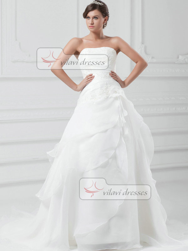 Over Hip Sweetheart Sweep Organza Beading Flower Wedding Dresses