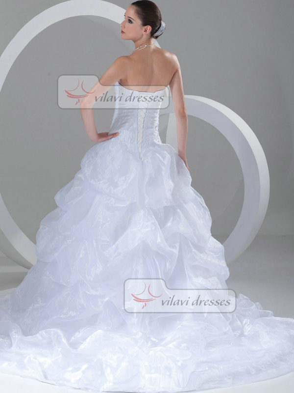 Ball Gown Sweetheart Sweep Organza Sequin Pick-Ups Wedding Dresses