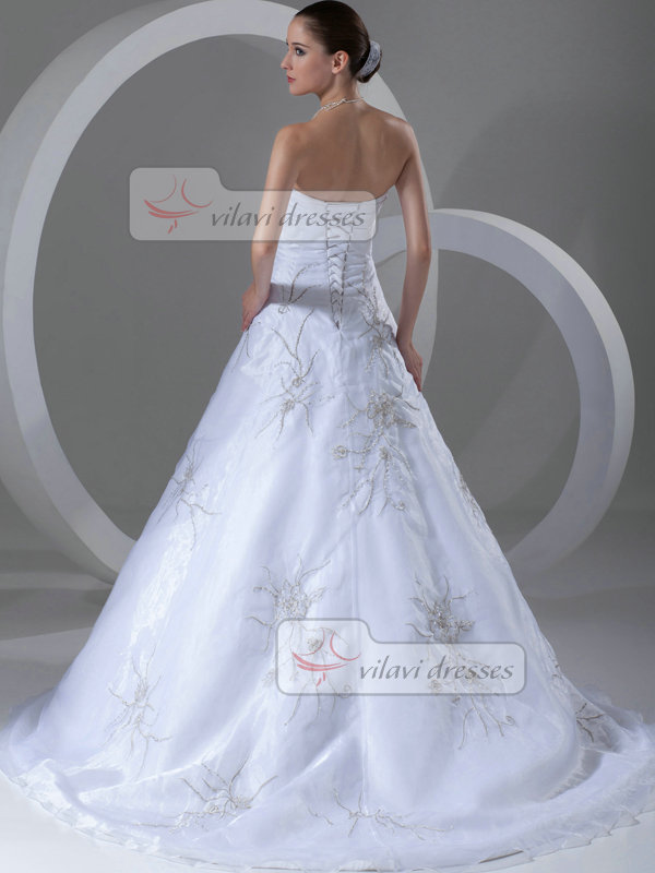 A-line Sweetheart Sweep Organza Embroidery Sequin Wedding Dresses