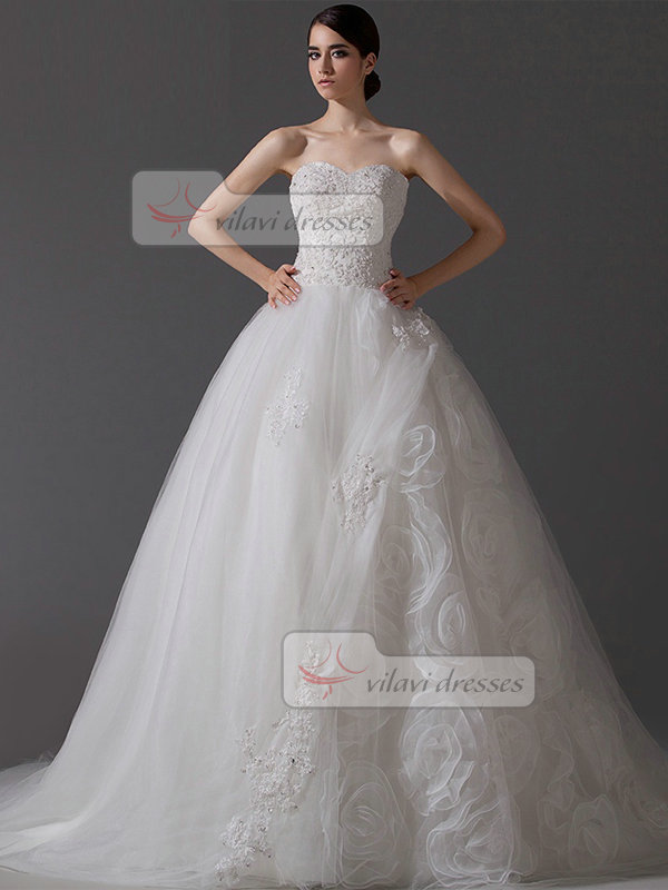 A-line Strapless Court Train Organza Beading Sequin Wedding Dresses