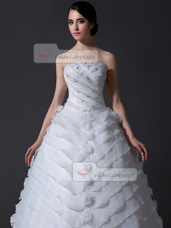 Ball Gown Strapless Brush Train Organza Crystal Wedding Dresses With Beading