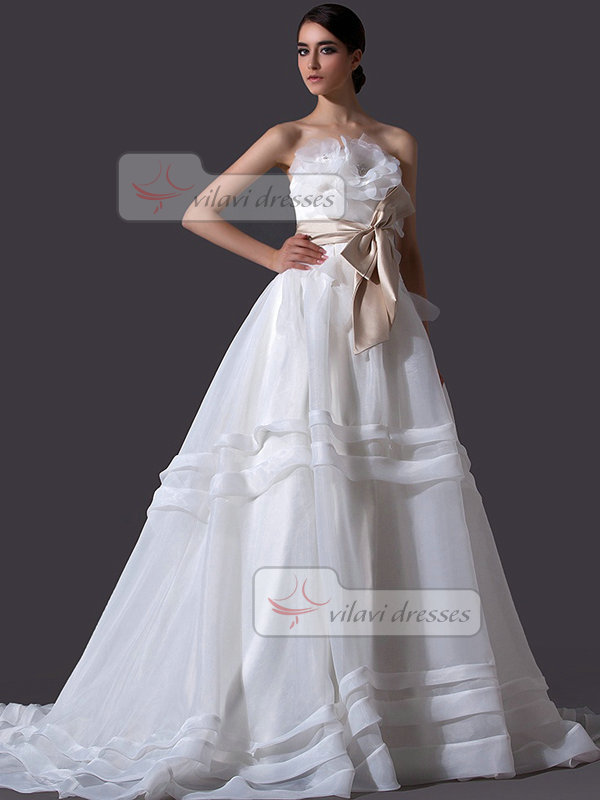 A-line Strapless Court Train Organza Crystal Wedding Dresses