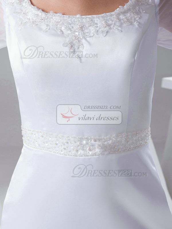 Gorgeous Mermaid Satin Scoop Court Train Wedding Dresses