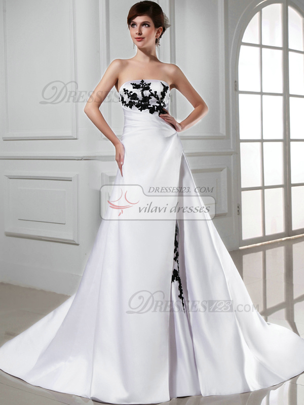 A Line Satin Strapless Court Train White And Black Lace Wedding