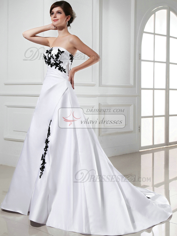 A-line Satin Strapless Court Train White and Black Lace Wedding Dresses