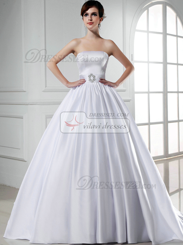 Pure Color Classic Ball Gown Satin Tube Top Sashes Wedding Dresses ...
