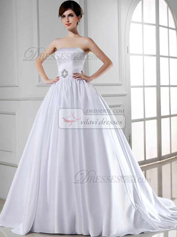 Pure Color Classic Ball Gown Satin Tube Top Sashes Wedding Dresses