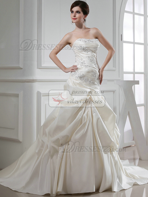 Spectacular Over Hip Satin Tube Top Pick-Ups Wedding Dresses