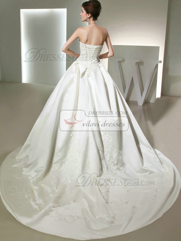 Glamorous Ball Gown Satin Tube Top Embroidery Wedding Dresses