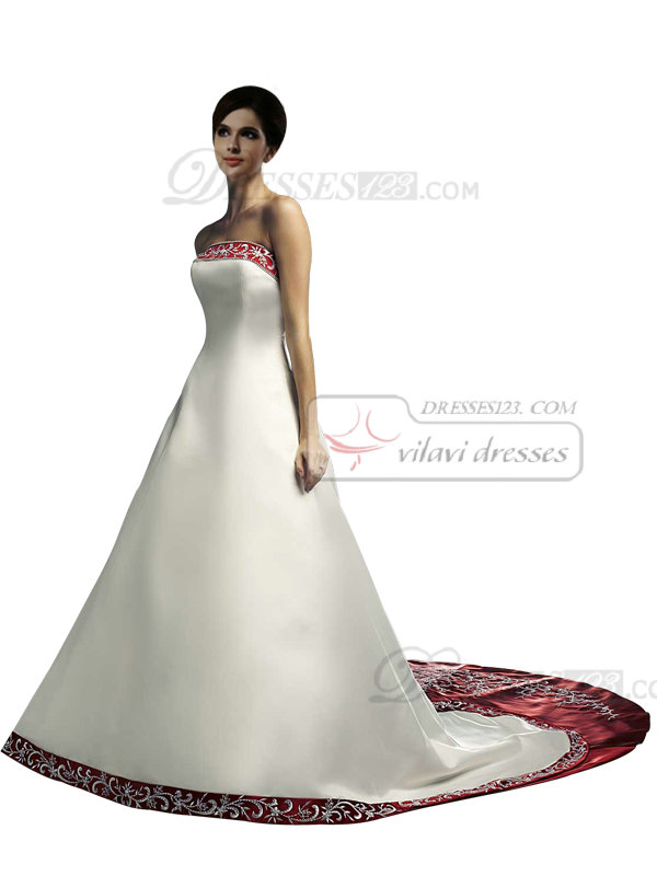 Amazing A-line Satin Tube Top Embroidery White And Red Colored Wedding Dresses