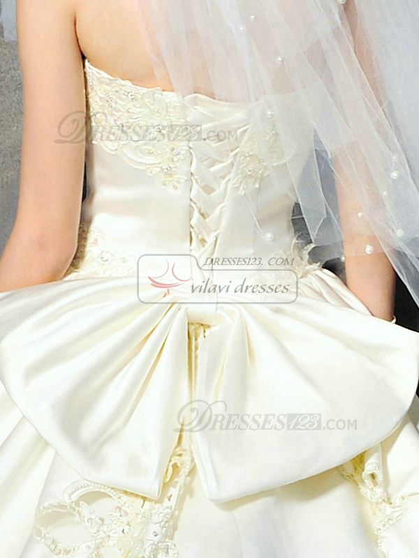 Ball Gown Strapless Court Train Satin Embroidery Wedding Dresses With Colorful Sequin