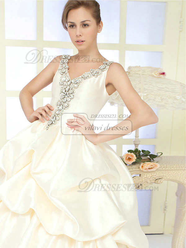 Ball Gown Straps Cathedral Train Satin Big Crystals Pick Ups Wedding Dresses