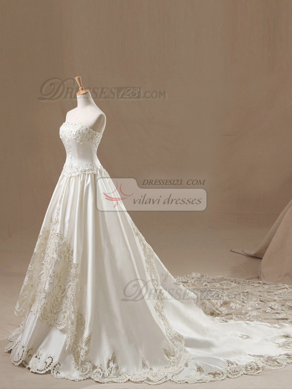 A-line Tube Top Cut Flowers Cathedral Train Satin Appliques Wedding Dresses With Beading