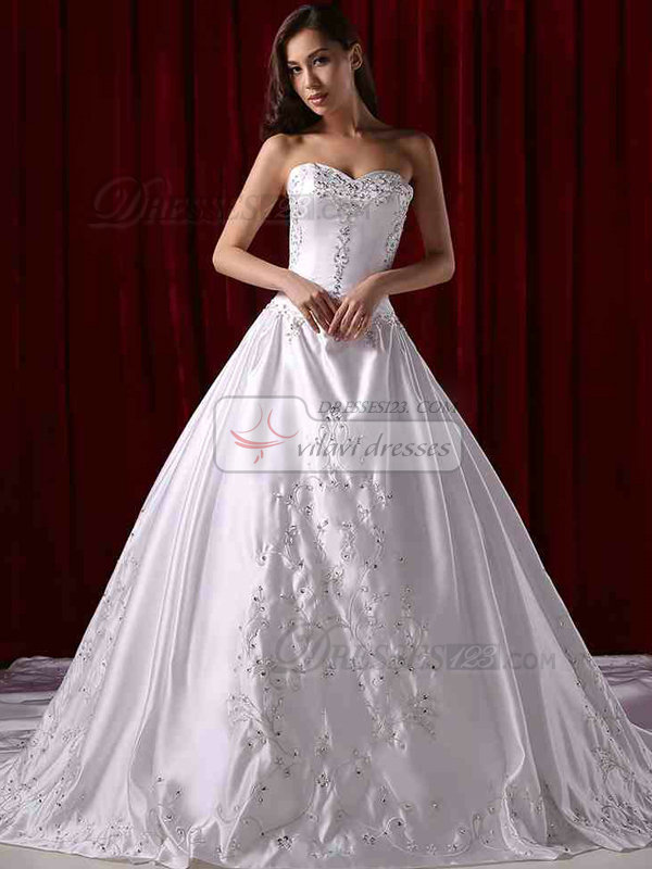 A-line Sweetheart Cathedral Train Satin Crystal Wedding Dresses