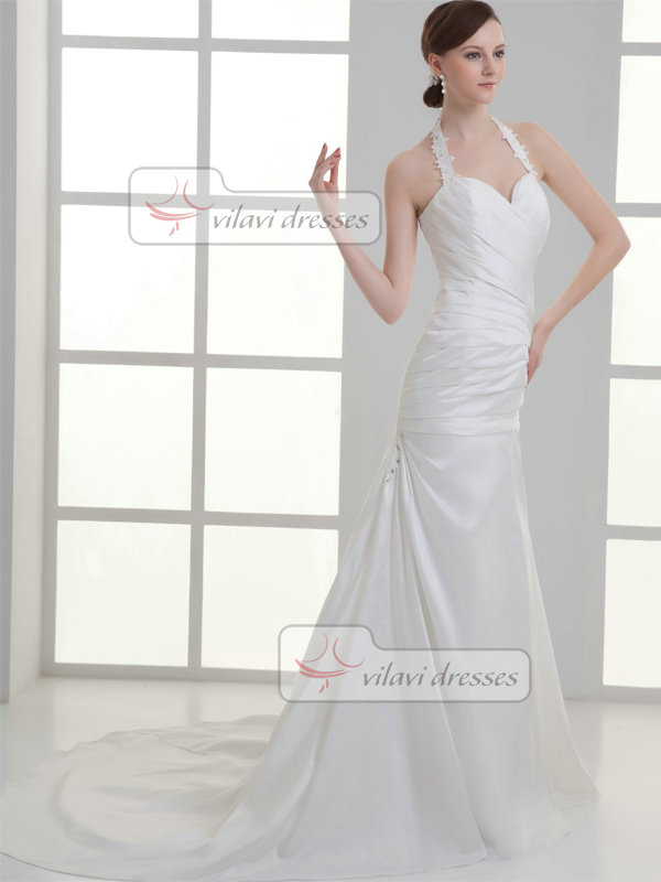 Over Hip Halter Sweep Satin Crystal Appliques Tiered Wedding Dresses