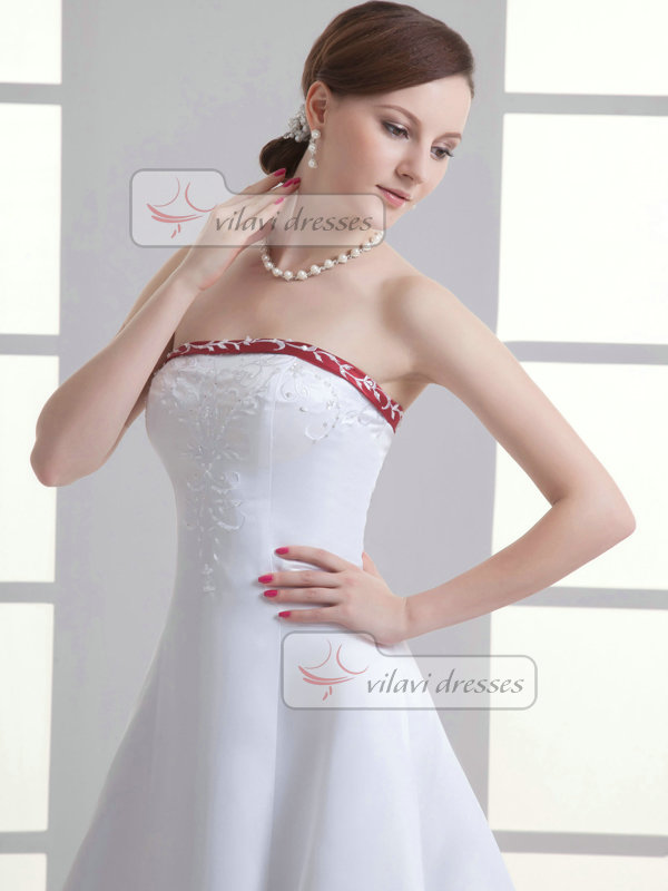 A-line Tube Top Brush Train Satin Sequin Beading Wedding Dresses