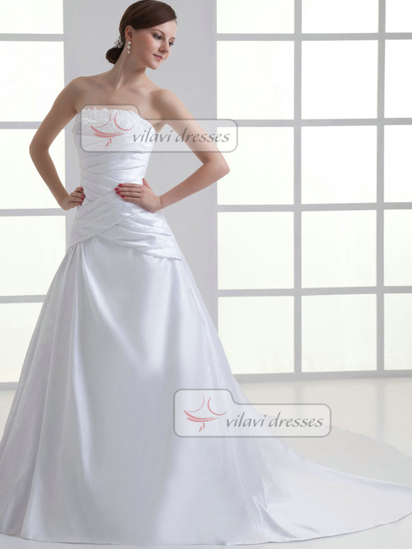 Over Hip Tube Top Court Train Satin Crystal Wedding Dresses