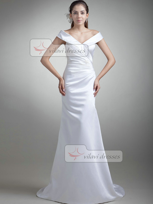 Mermaid Off-the-shoulder Brush Train Satin Side-draped Wedding Dresses
