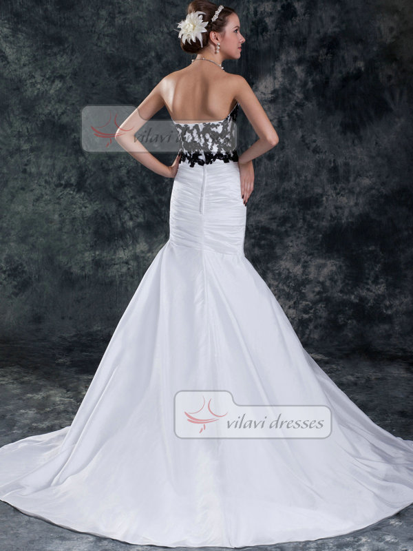Mermaid Strapless Brush Train Satin Beading Flower Wedding Dresses