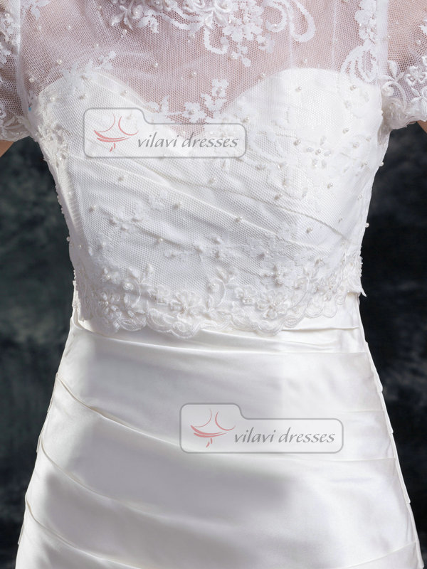 Mermaid Scalloped-edge Court Train Satin Short Sleeve Lace Wedding Dresses With Beading