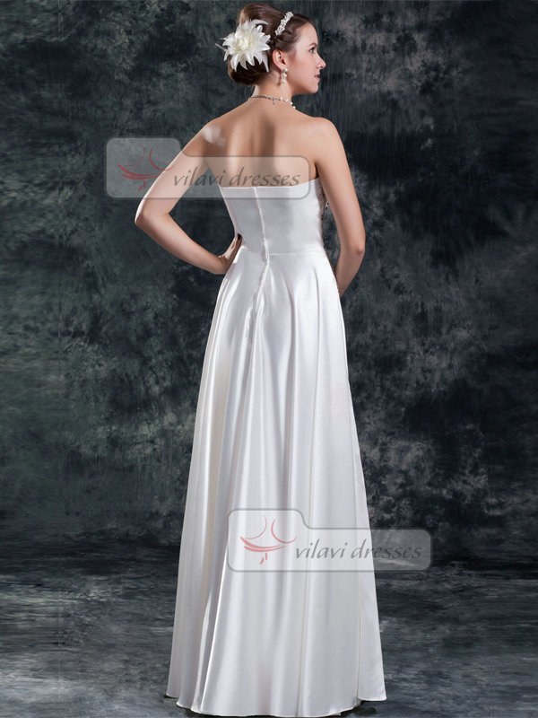 Column Strapless Floor-length Satin Beading Crystal Wedding Dresses