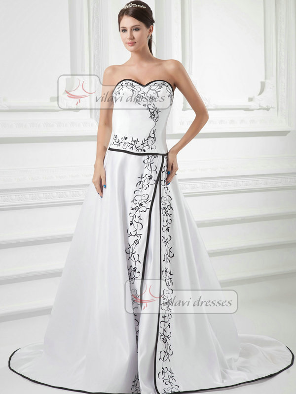 A-line Sweetheart Strapless Sweep Satin Embroidery Wedding Dresses