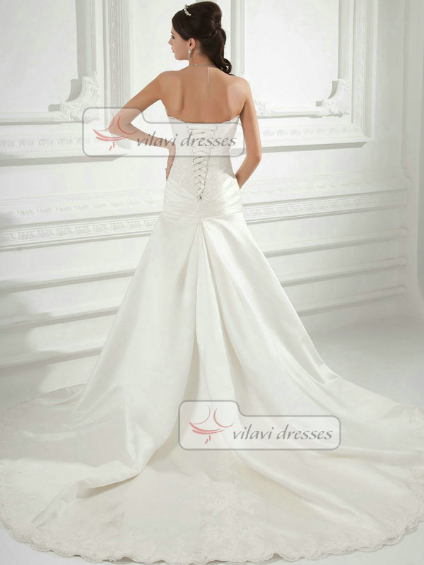 Over Hip Sweetheart Court Train Satin Side-draped Wedding Dresses