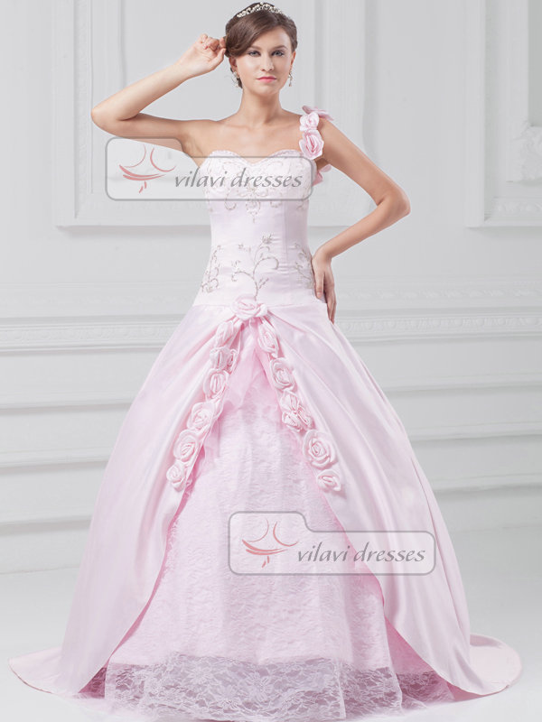 Ball Gown One Shoulder Brush Train Satin Flower Wedding Dresses With Beading