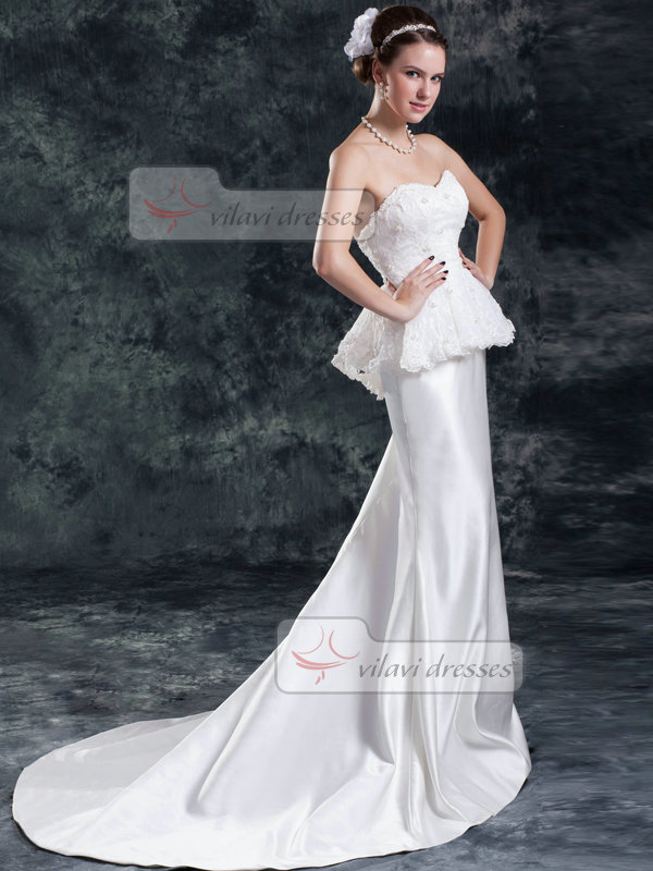 Mermaid Sweetheart Brush Train Satin Beading Sequin Wedding Dresses