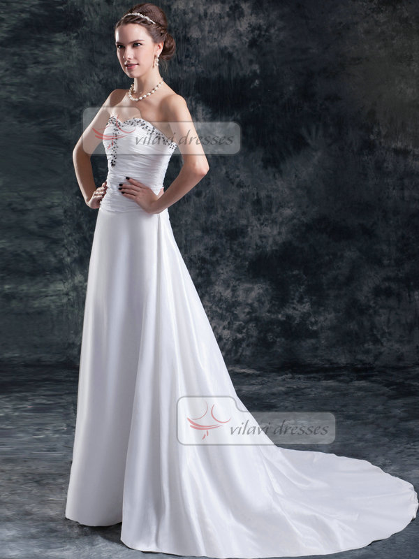 A-line Sweetheart Brush Train Satin Beading Tiered Wedding Dresses