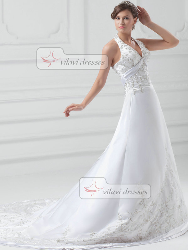 A-line V-neck Halter Sweep Satin Embroidery Beading Wedding Dresses