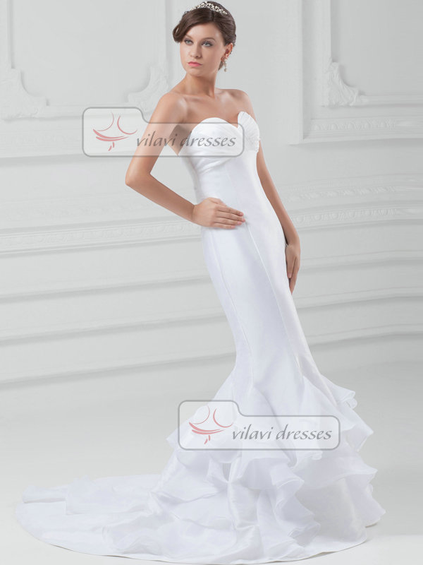 Mermaid Sweetheart Sweep Satin Cascading Ruffle Wedding Dresses