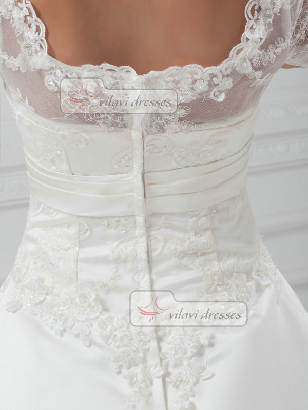 Ball Gown Scalloped-edge Sweep Satin Half Sleeve Lace Wedding Dresses With Sequin