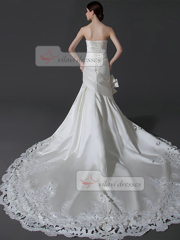 Mermaid Strapless Chapel Train Satin Cut Flowers Wedding Dresses With Side-draped