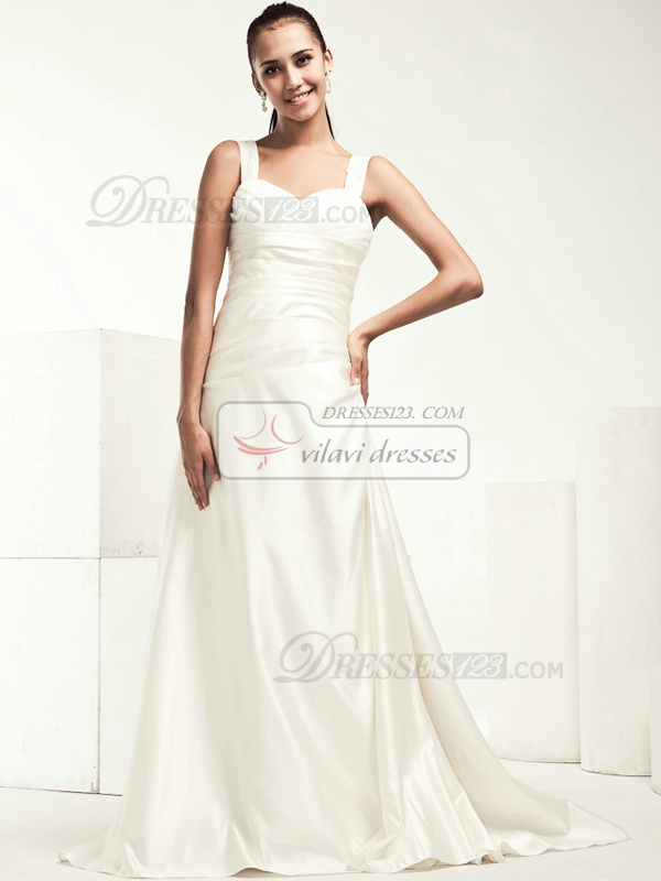 Gorgeous A-line Stretch Satin Chapel Train Draped Wedding Dresses