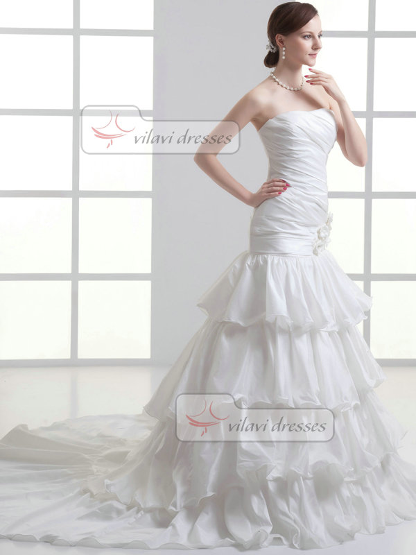 Mermaid Sweetheart Court Train Stretch Satin Tiered Wedding Dresses With Flower