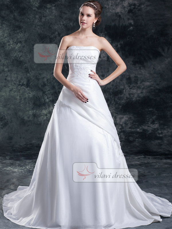 A-line Tube Top Sweep Stretch Satin Beading Sequin Wedding Dresses